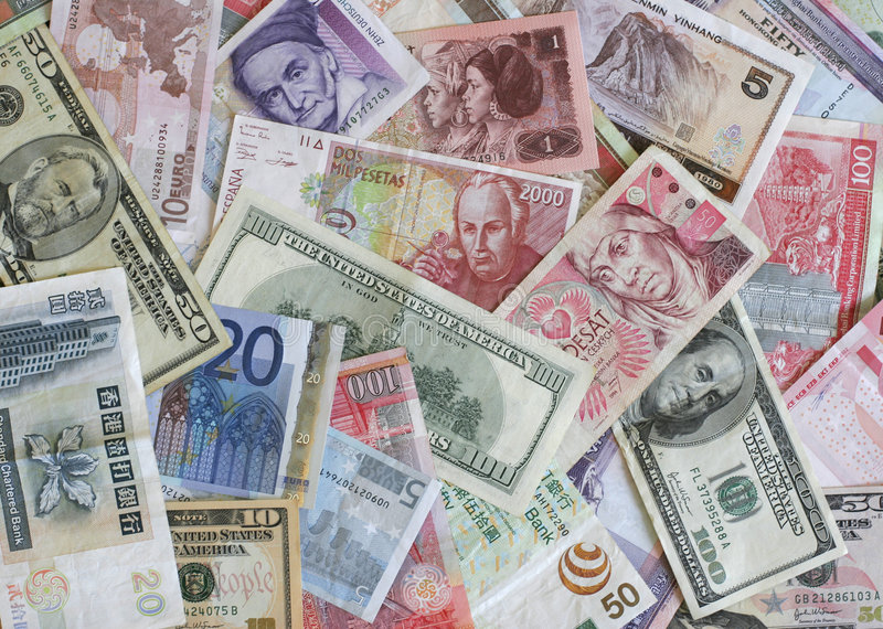 Foreign Currency. Bank notes from Europe, US, China, Poland, Hong Kon, etc