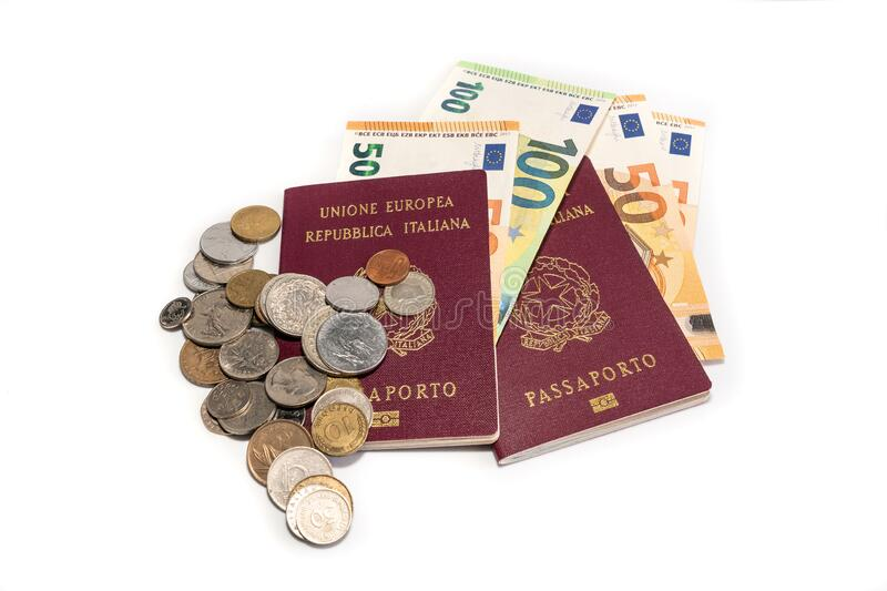 Foreign Italian Passport and cash euro money isolated on a white background. stock photography