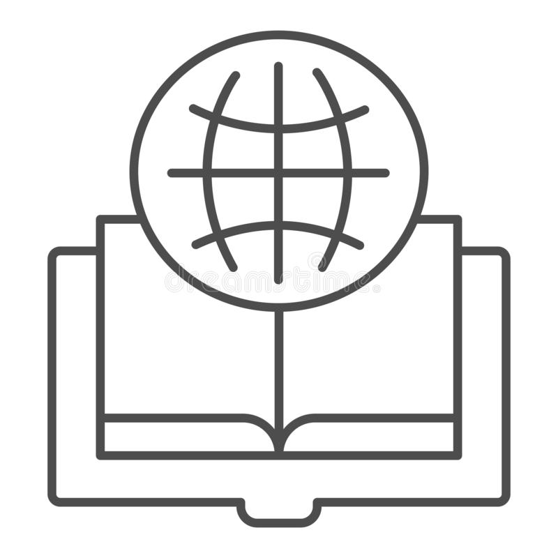 Foreign language book thin line icon. Opened book vector illustration isolated on white. Globe and book outline style royalty free illustration