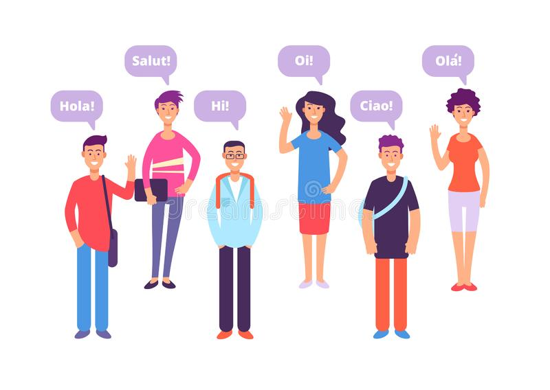 Foreign language concept. Students greeting in english french german japanese. Language class and foreign languages royalty free illustration