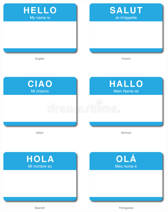 Download Foreign Language Hello Sticker In European Languag Stock Vector - Image: 7955426
