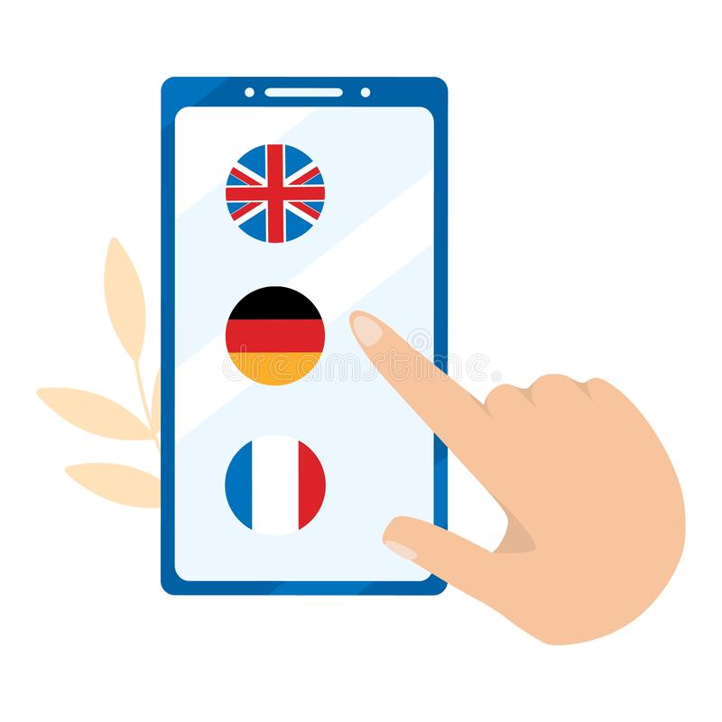 Foreign language online learning. German, English, French to choose from royalty free illustration
