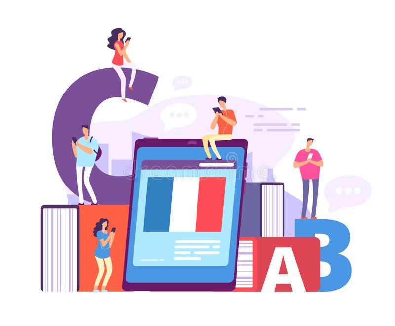 Foreign language online learning. People with smartphones studying french with online teacher. Education vector concept stock illustration