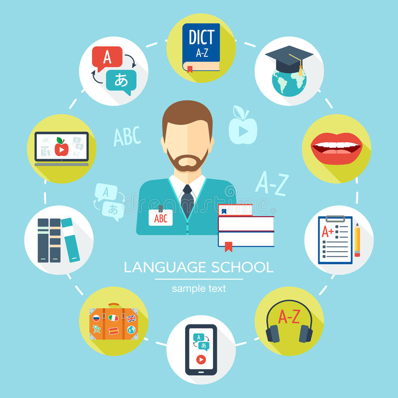Foreign Language Fiction: Foreign Language School And Courses Flat Icon Set