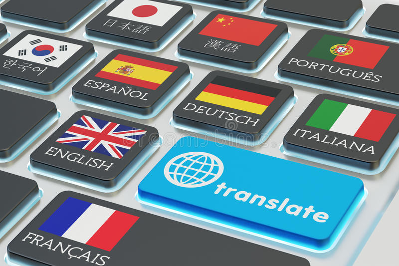 Foreign languages translation concept, online translator. Macro view of computer keyboard with national flags of world countries on keys and blue translate