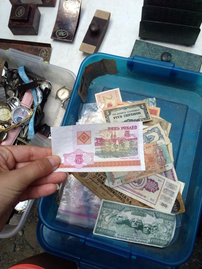 Foreign money collection antique royalty free stock images