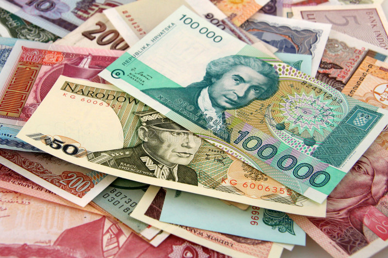 Foreign Paper Money stock images