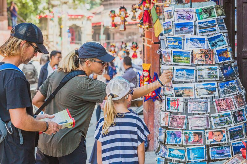 Foreign Tourists,Travellers Looking for Souvenirs at Tourist Shop in Kathmandu Durbar Square. Kathmandu,Nepal - Sep 24,2018:Foreign Tourists,Travellers Looking stock photo