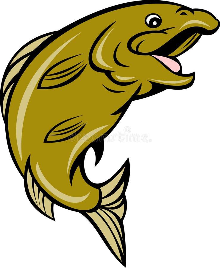forell för tecknad filmfiskbanhoppning royaltyfri illustrationer