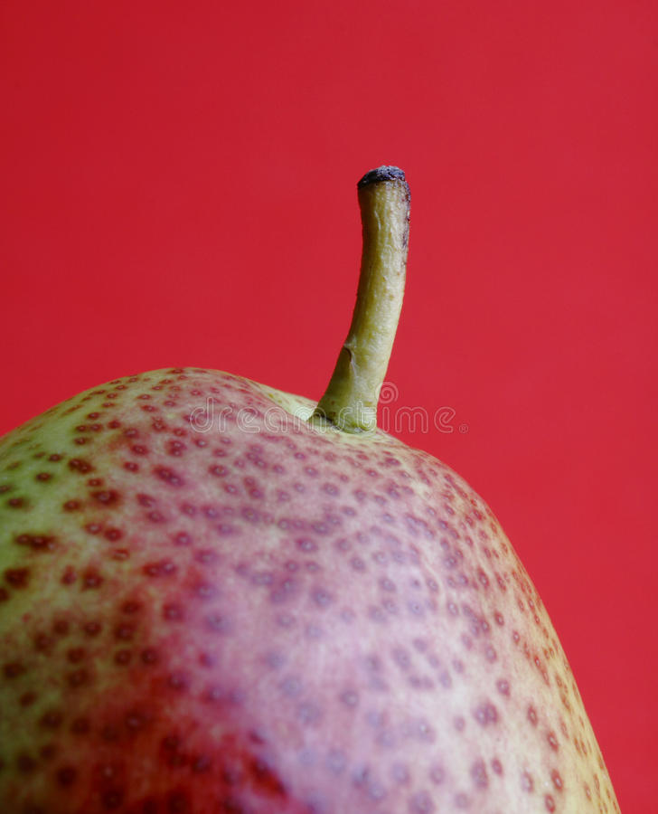 Forelle Pear against red background stock image