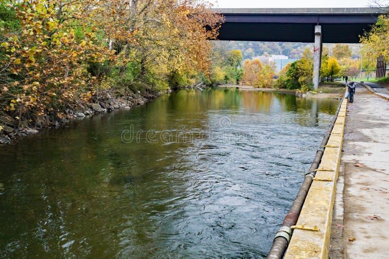 Forellfiske på den Roanoke flodgreenwayen arkivbild