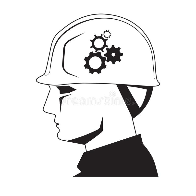 Foreman head and gear wheels, creative builder. Foreman head with safety helmet and gear wheels icon on white background, creative builder concept royalty free illustration