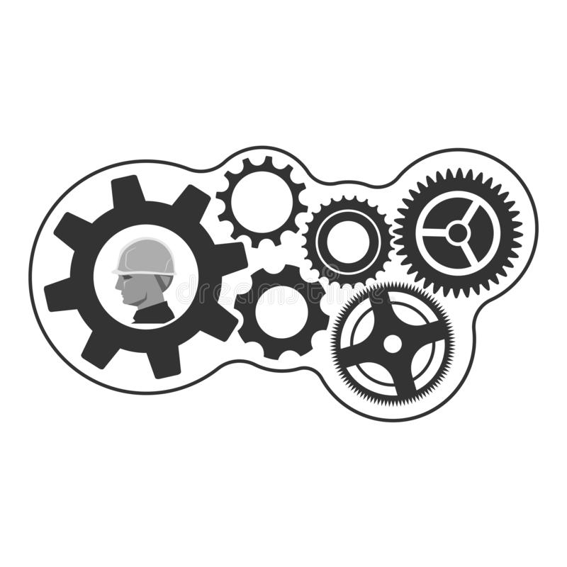 Foreman and gear wheels, creative builder. Foreman head with safety helmet and gear wheels, creative builder concept stock illustration