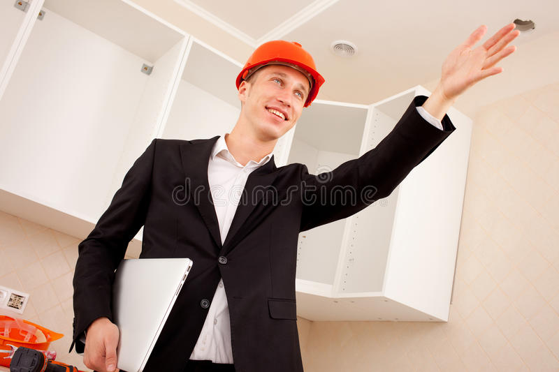 Foreman shows hand forward royalty free stock image