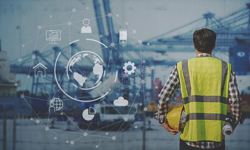 Foreman Working with Global business connection technology interface global partner connection of Container Cargo freight ship for royalty free stock photo