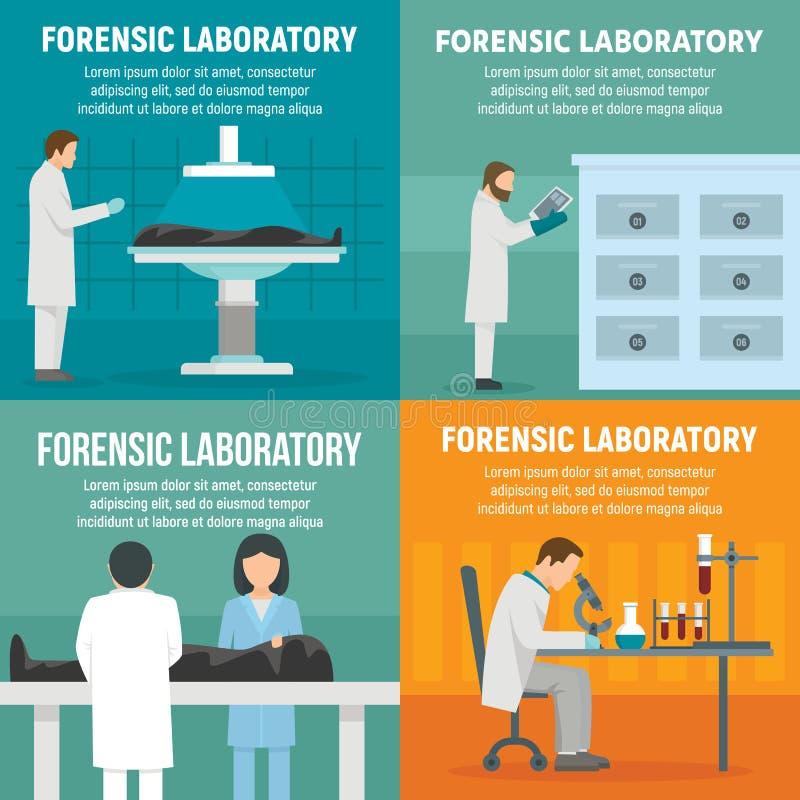 Forensic laboratory banner set, flat style. Forensic laboratory banner set. Flat illustration of forensic laboratory vector banner set for web design vector illustration