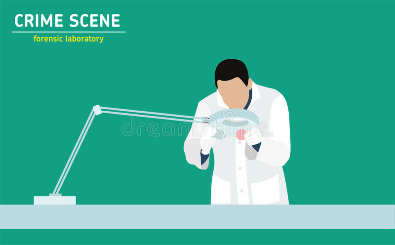 Forensic laboratory. Flat illustration royalty free illustration