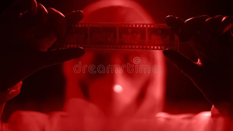 Forensic science expert looking at photo negatives, searching for crime solution. Stock photo royalty free stock photography