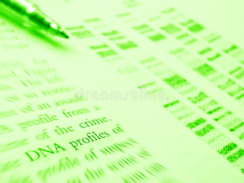 Forensic science study - DNA profile stock photo
