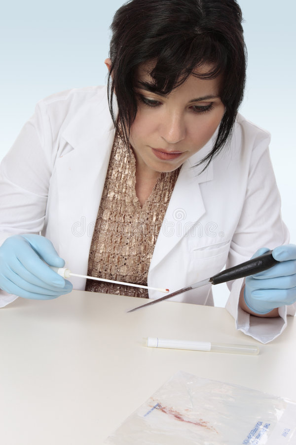 Forensic scientist obtaining sample. Forensic investigator takes a sample from a knife for further analysis royalty free stock image