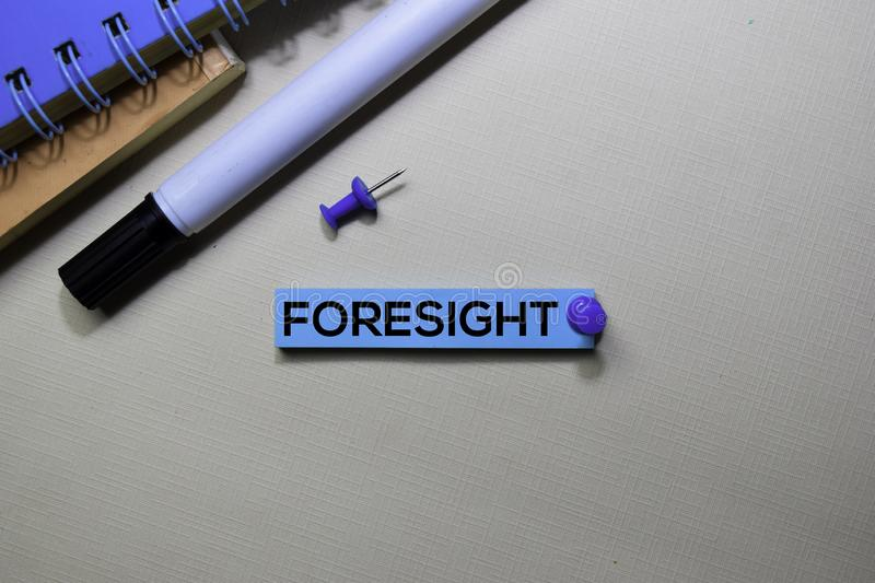 Foresight text on sticky notes isolated on office desk stock photos