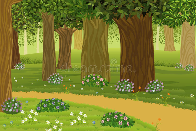 Forest. Trees and flowers in an enchanted forest - vector illustration royalty free illustration