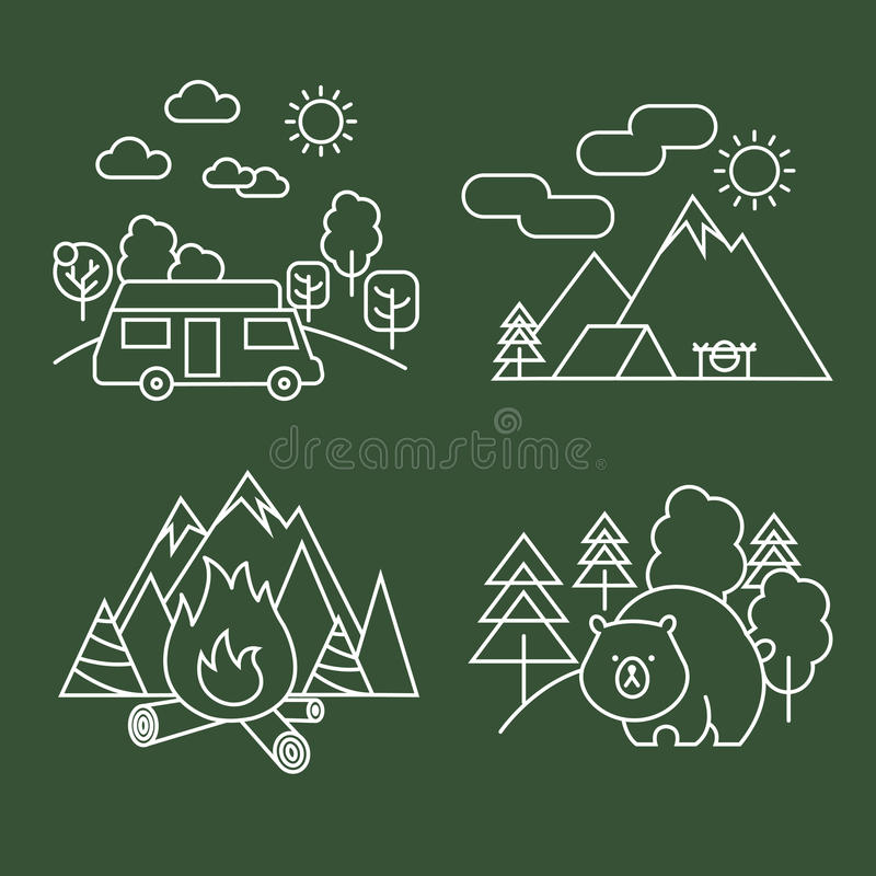 Forest activity linear icons. Vector thin line wildlife and park landscape with bear vector illustration