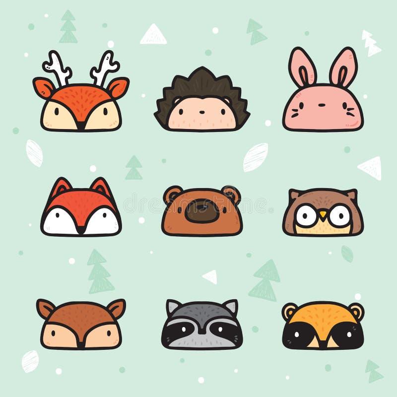 Forest Animal Faces Collection disegnato a mano sveglio royalty illustrazione gratis