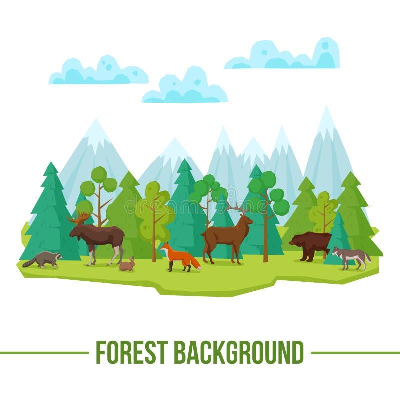 Forest Animals Background royalty illustrazione gratis