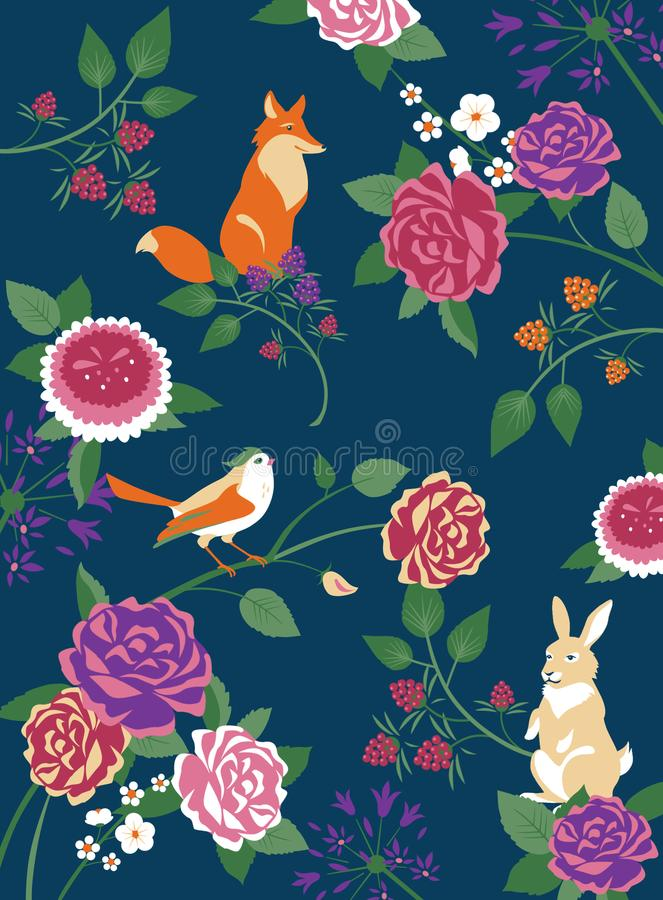 Forest animals, birds and flowers background stock photo