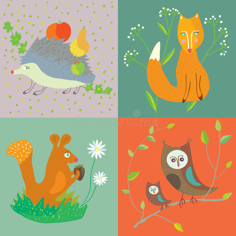 Forest animals and birds funny set for kids royalty free illustration