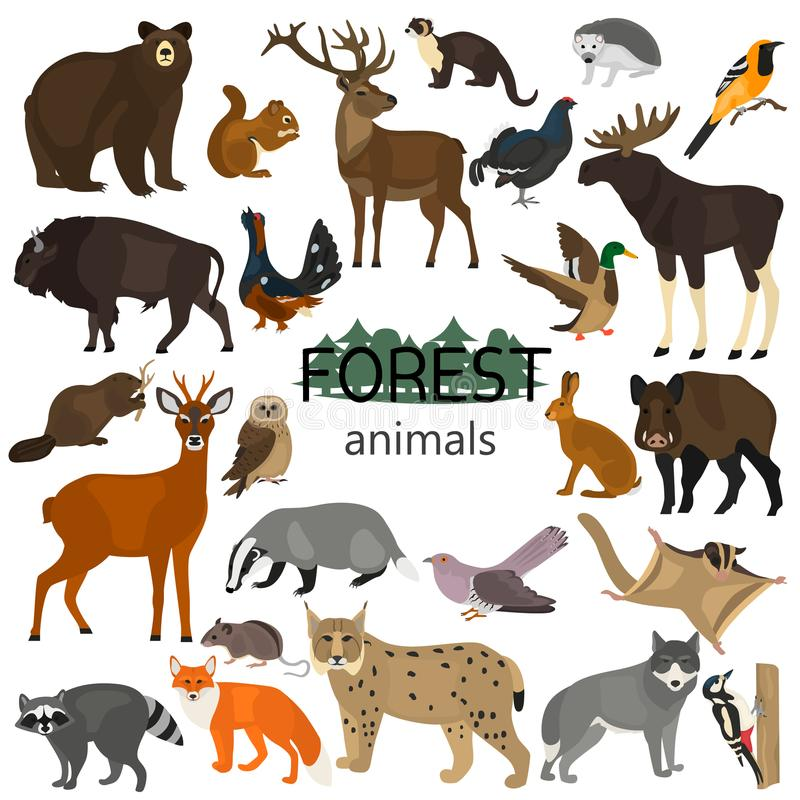 Forest animals color flat icons set. For web and mobile design royalty free illustration
