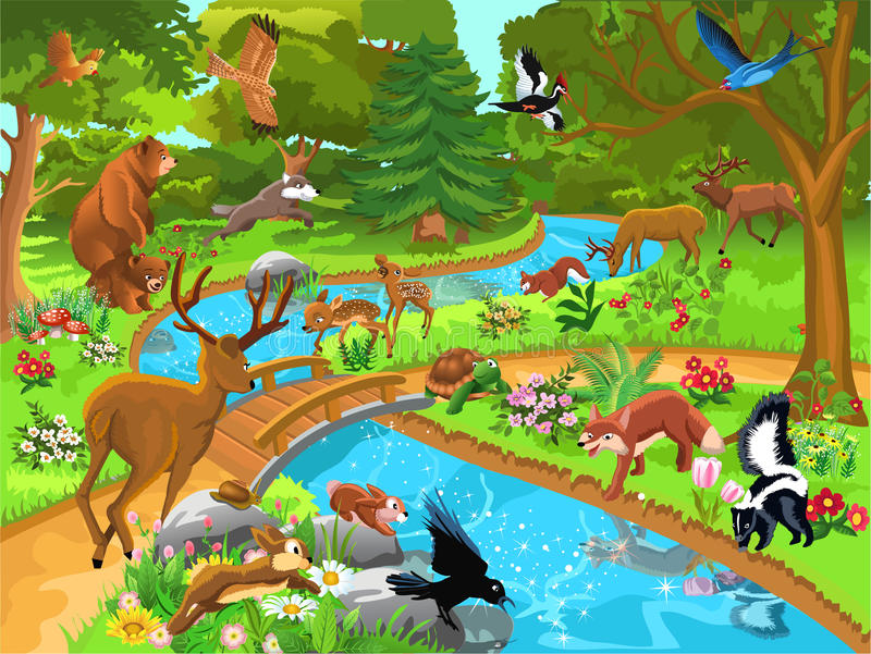 Forest animals coming to drink water royalty free illustration