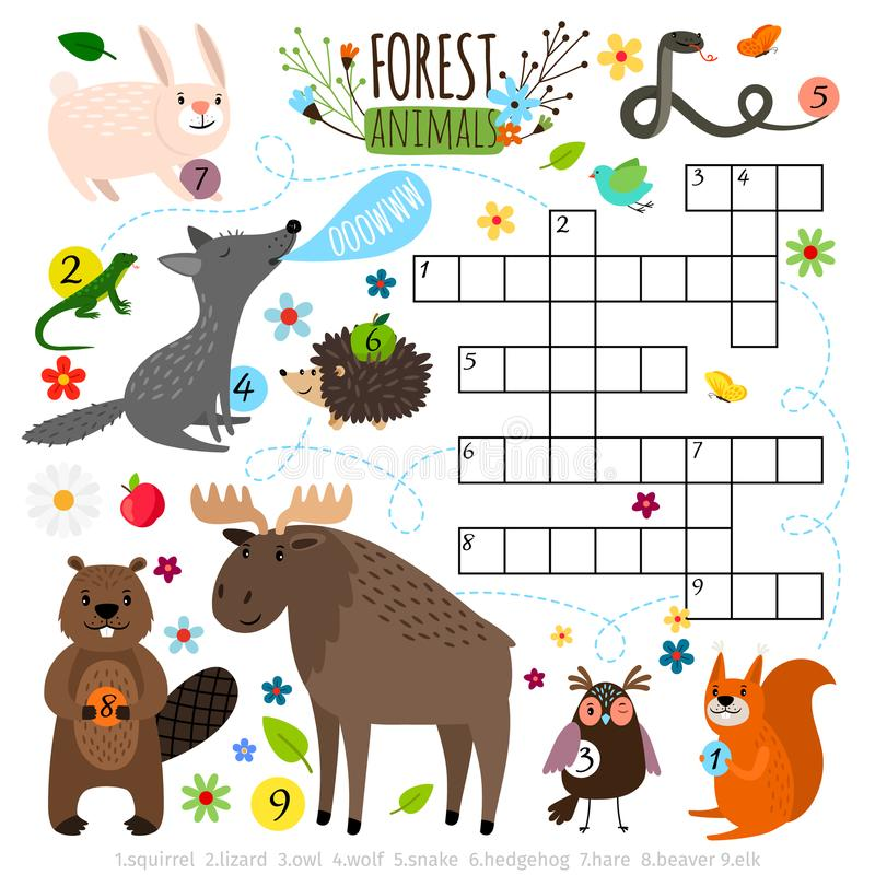 Forest animals crossword puzzle royalty free illustration