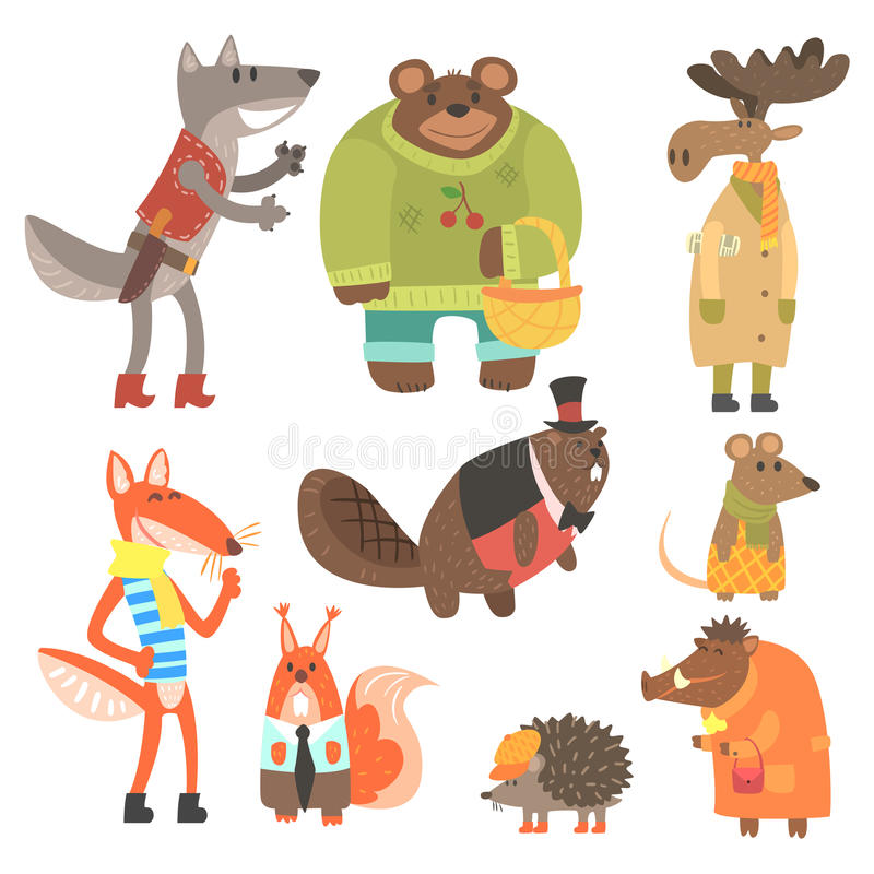 Forest Animals Dressed In Human Clothes Set Of Illustrations. Cool Cute Cartoon Animal Characters Flat Vector Drawings In Childish Creative Style royalty free illustration