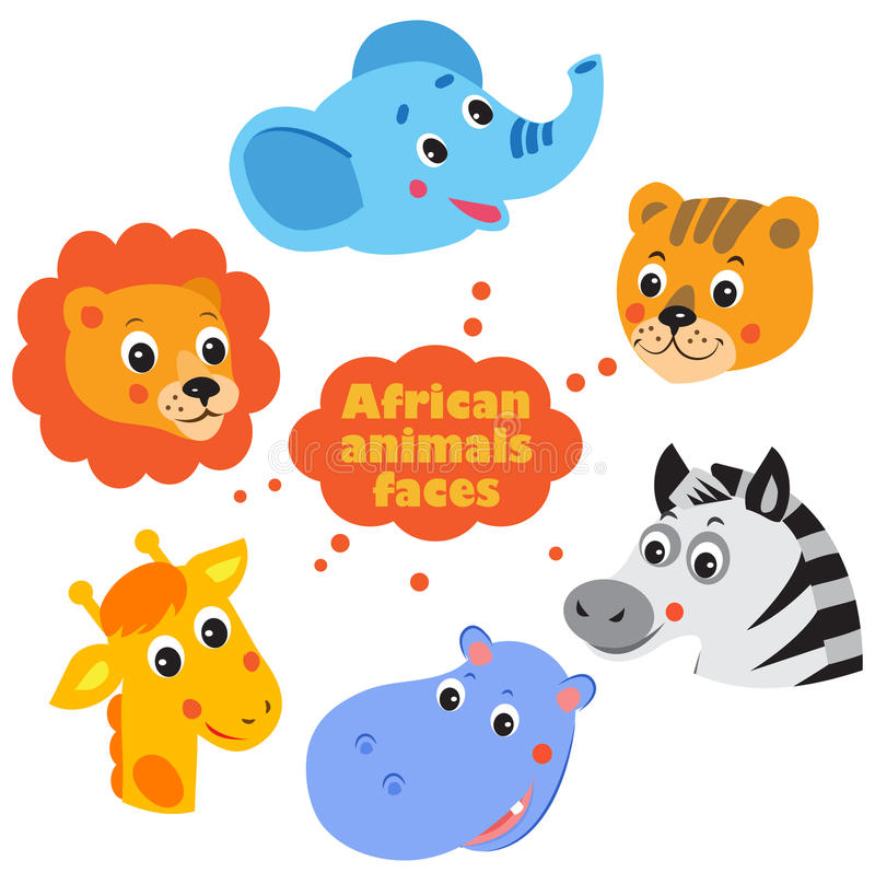 Forest Animals Faces Icons Set stock illustratie