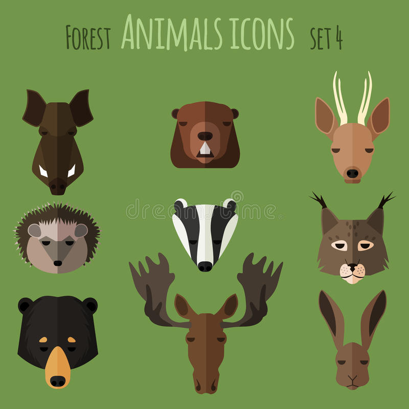 Forest animals flat icons. Set 2 royalty free illustration