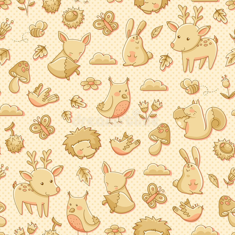 Forest animals pattern royalty free illustration