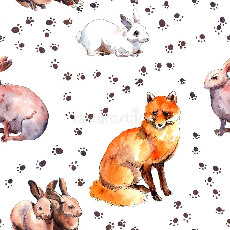 Forest animals: rabbits, fox. Wild animal pattern with foot print. Repeating watercolour sketch stock photos