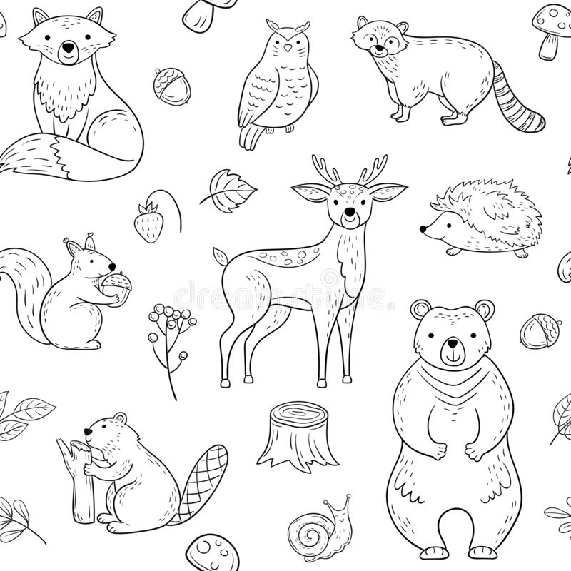 Forest animals seamless pattern. Fox Owl Raccoon Beaver Bear Hedgehog Squirrel Fox. Woodland baby animal vector vector illustration