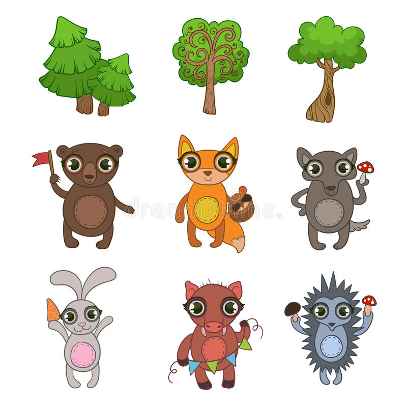 Forest Animals Set amistoso ilustración del vector