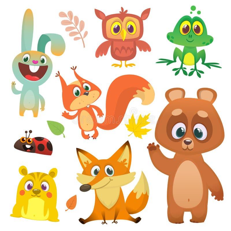 Forest animals set cartoon. Vector illustration. Big set of cartoon woodland animals illustration. Squirrel owl bunny rabbit frog chipmunk fox bear ladybug vector illustration