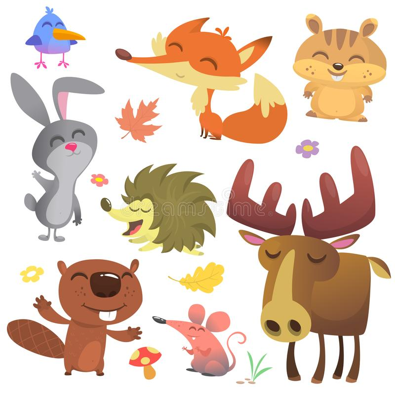 Forest Animals Vector Illustration Tecknad filmfågel, igelkott, bäver, kaninkanin, jordekorre, räv, mus och älg royaltyfri illustrationer