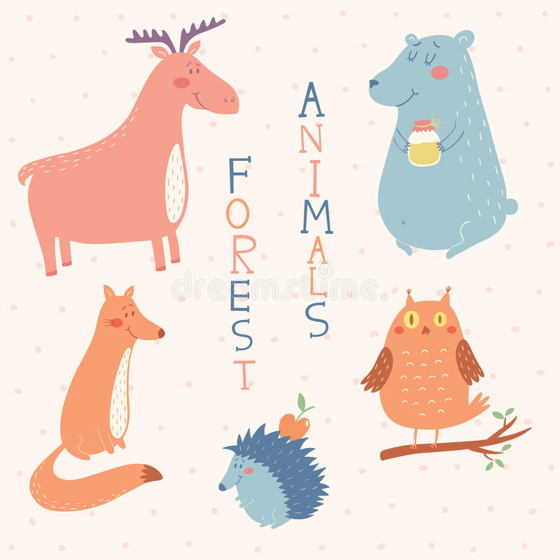 Forest animals vector set stock photo