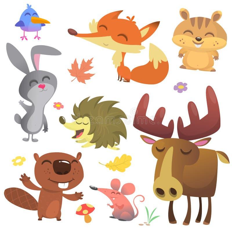 Forest Animals Vetora Illustration Pássaro dos desenhos animados, ouriço, castor, coelho de coelho, esquilo, raposa, rato e alces ilustração royalty free
