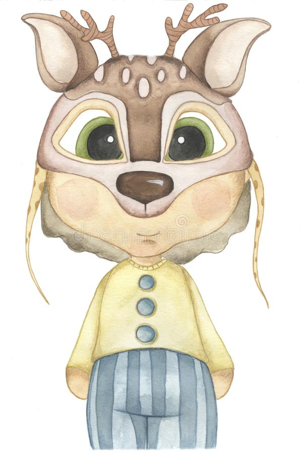 Forest Animals watercolor illustration. A child wears animal mask. stock illustration