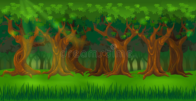 Forest background panorama at sunny day stock illustration