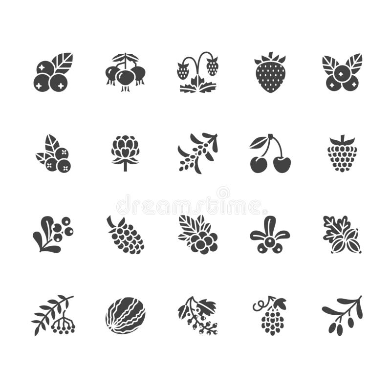 Forest berries colored flat glyph icons - blueberry, cranberry, raspberry, strawberry, cherry, rowan berry blackberry vector illustration