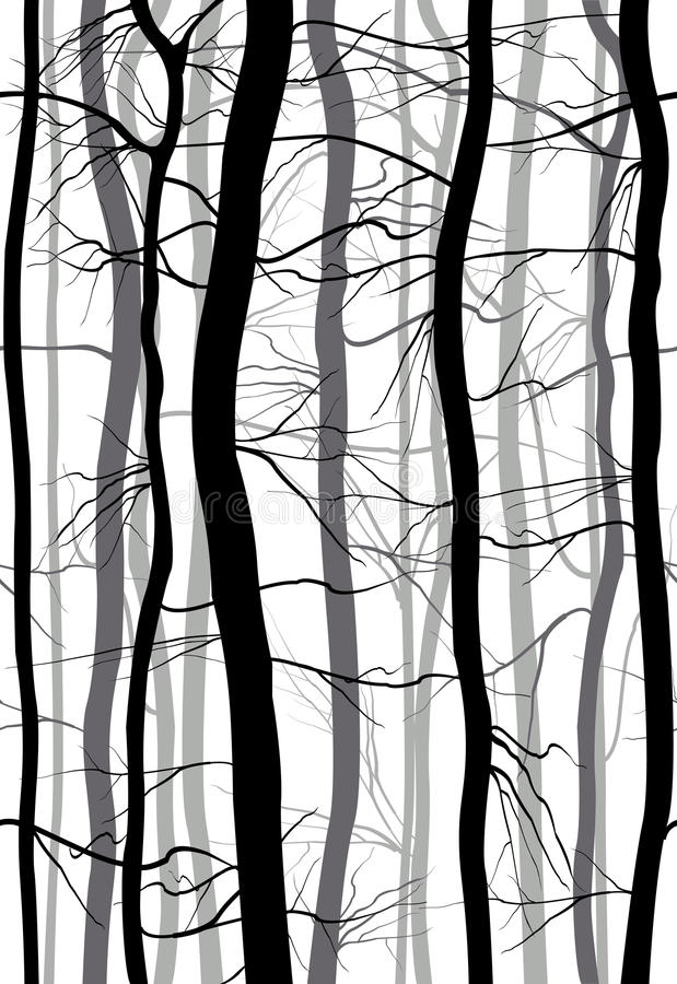 Forest Branches seamless pattern. Monochrome spring, winter bare trees vector illustration. stock illustration