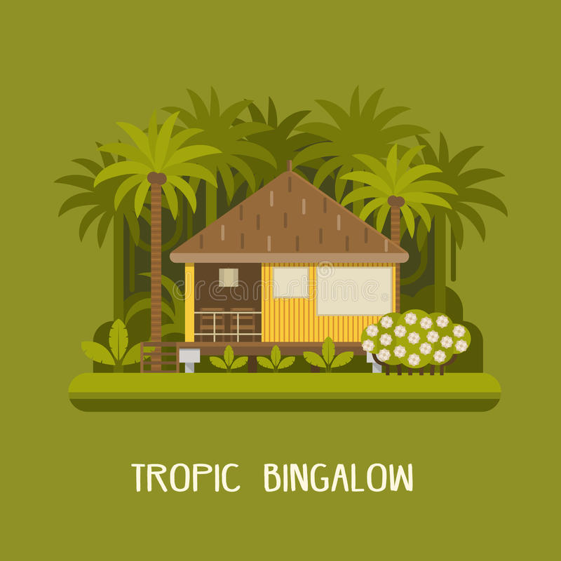 Summer House Apartments: Forest Bungalow Background Stock Vector. Illustration Of